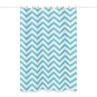 Sweet Jojo Designs Chevron Shower Curtain In Turquoise And White