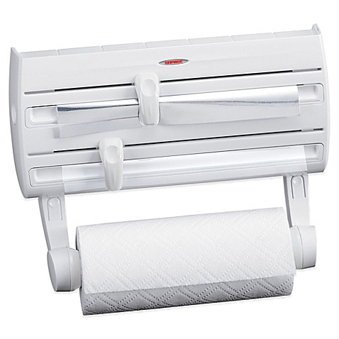 Leifheit Wall Mount Paper Towel Holder With Plastic Wrap Foil - Kitchen paper towel dispenser