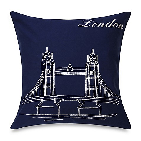 Bedlam Passport London Square Throw Pillow in Blue - Bed Bath & Beyond