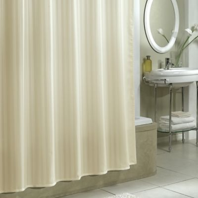 damask stripe fabric shower curtain liner in ivory