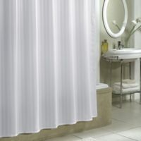 Damask Stripe Fabric Shower Curtain Liner in White