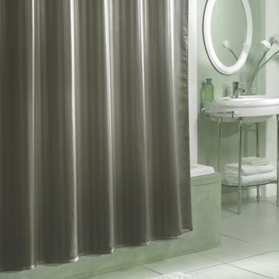 Damask Stripe Fabric Shower Curtain Liner In Grey