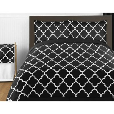 sweet jojo designs trellis 4 piece twin comforter set in black and white - Black And White Comforter Set