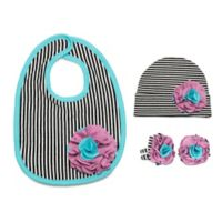 Itty Bitty & Pretty Size 12-24M 3-Piece Hat, Bib and Booties Gift Set in Jazzy Gem