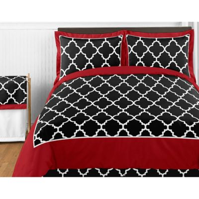 Sweet Jojo Designs Trellis 4 Piece Twin Comforter Set In Red/Black