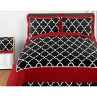 Sweet Jojo Designs Trellis 3-Piece Full/Queen Comforter Set in Red/Black