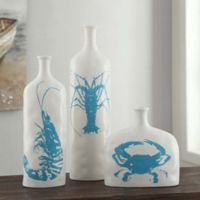 White and Turquoise Crab Vase