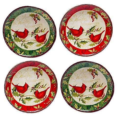 Buy certified international winter wonder assorted 4 piece for Canape plate sets