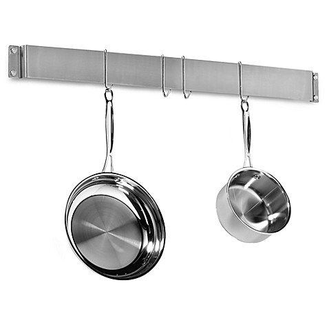Cuisinart 174 Brushed Stainless Steel Wall Bar Pot Rack Bed