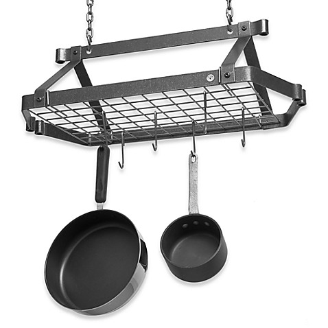Enclume® Decor Retro Hammered Steel Rectangular Pot Rack