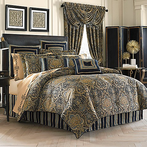 J queen new york venezia comforter set bed bath beyond for Blue and gold bathroom sets