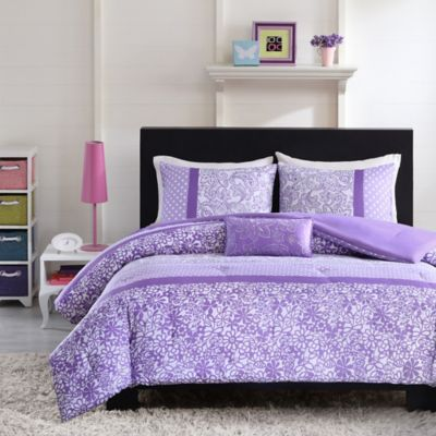 mizone riley reversible fullqueen comforter set in purple - Liliac Bedding