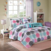 Mizone Carly Full/Queen Comforter Set in Purple