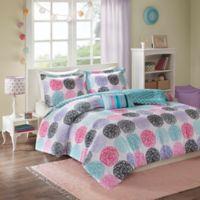 Mizone Carly Full/Queen Comforter Set in Purple