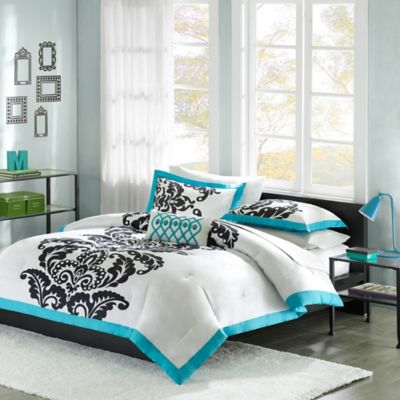 Buy Black Damask Comforter Set From Bed Bath Beyond - Black and teal comforter sets