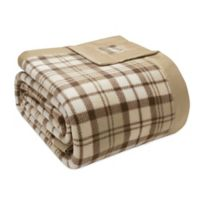 True North by Sleep Philosophy Microfleece Full/Queen Blanket with Satin Binding in Tan Plaid