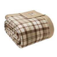 True North by Sleep Philosophy Microfleece Twin Blanket with Satin Binding in Tan Plaid