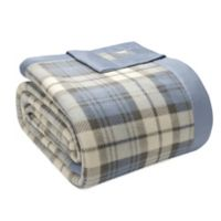 True North by Sleep Philosophy Microfleece King Blanket with Satin Binding in Blue Plaid