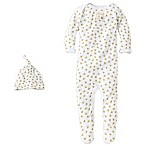 Burt's Bees Baby® Size 0-3M Organic Cotton 2-Piece Footed Coverall and Hat Set in Bee/White