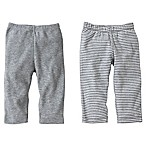 Burt's Bees Baby® Size 12M 2-Pack Organic Cotton Footless Pant in Grey Solid/Stripe