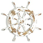 White Ship Wheel Wooden Wall Plaque