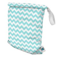 Planet Wise Medium Roll-Down Wet Bag in Teal Chevron