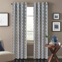 Tile Scroll 63-Inch Window Curtain Panel in Blue