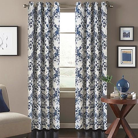 Magnolia Window Curtain Panel In Blue Bed Bath Beyond