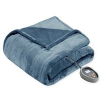 Beautyrest Microlight-to-Berber Reversible Twin Heated Blanket in Sapphire
