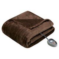Beautyrest Microlight-to-Berber Reversible Queen Heated Blanket in Chocolate