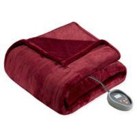 Beautyrest Microlight-to-Berber Reversible Twin Heated Blanket in Garnet