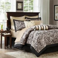 Madison Park Aubrey 12-Piece Reversible King Comforter Set in Black/Silver