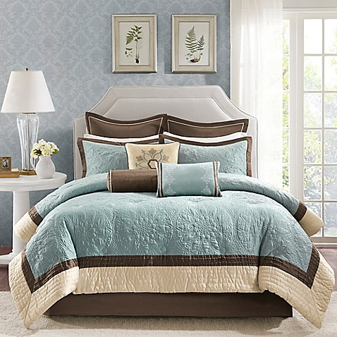 Madison Park Juliana 9 Piece Comforter Set In Blue Bed
