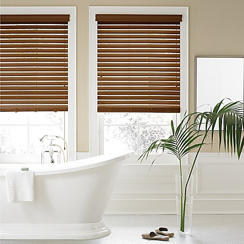Real simple 2 inch faux wood blind bed bath beyond for Blinds bathroom window
