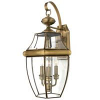 Quoizel Newbury Outdoor Large Wall Lantern in Antique Brass