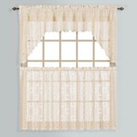 New Rochelle 24-Inch Lace Window Curtain Tier Pair in Natural