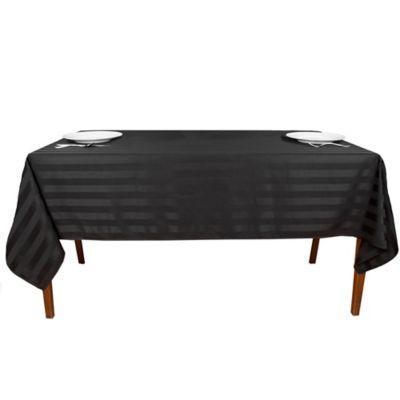 Riegel® Satin Stripe 90 Inch Square Tablecloth In Black