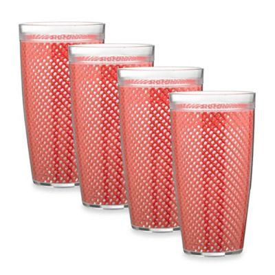kraftware fishnet 4piece plastic highball glasses in flag red