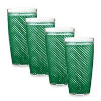 Kraftware Fishnet 4-Piece Doublewalled Plastic Highball Glasses in Emerald