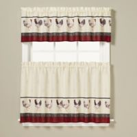 Rooster Print 36-Inch Window Curtain Tier Pair