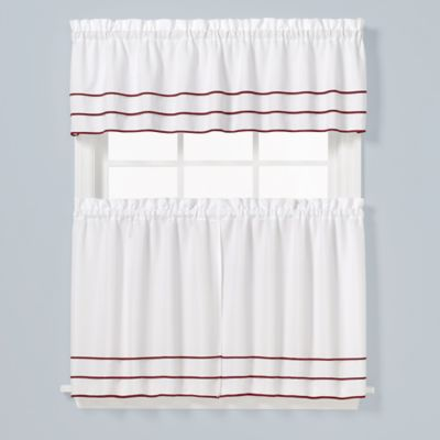 Buy Montego Stripe 36 Inch Window Curtain Tier Pair From Bed Bath Beyond