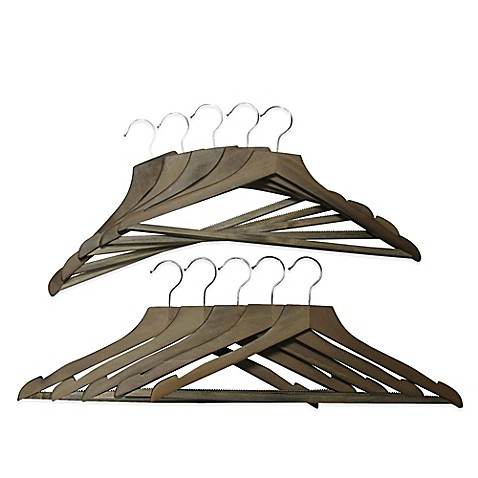 refined closet 10pack suit hangers in walnut