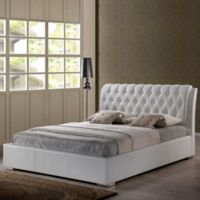 Baxton Studio Bianca King Platform Bed with Tufted Headboard in White