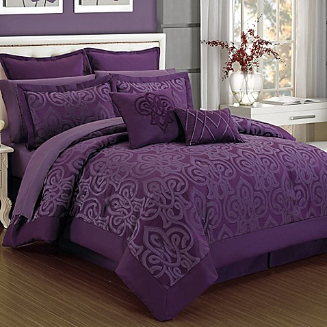 Curtis Damask 12 Piece Comforter Set In Plum Bed Bath