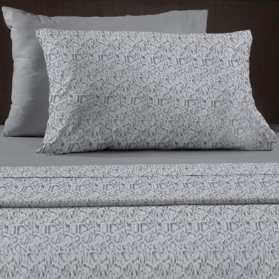 leopard 600 thread count reversible queen sheet set in charcoal