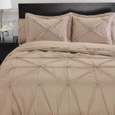 Memento Full Queen Duvet Cover With Swarovski Crystal Accents In Taupe