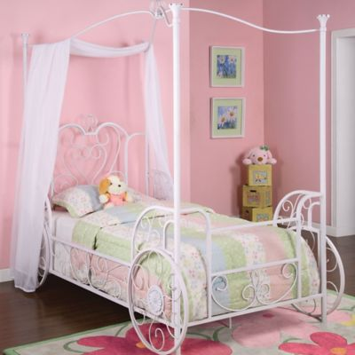 powell princess emily carriage canopy twin size bed in white - Girls Twin Bed Frame