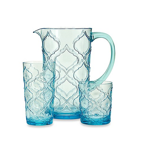 Embossed Patio Tile Drinkware in Aqua