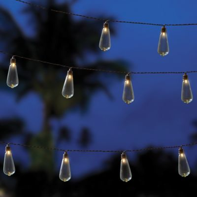 Outdoor Solar 10-Bulb String Lights in Clear - Bed Bath & Beyond