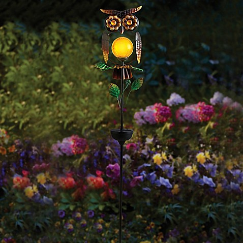 Owl solar garden stake bed bath beyond for Decorative garden stakes
